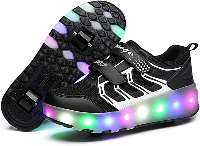 Boys Girl Rechargeable Light up Roller Shoes Wheeled LED Skate Sneakers All Size