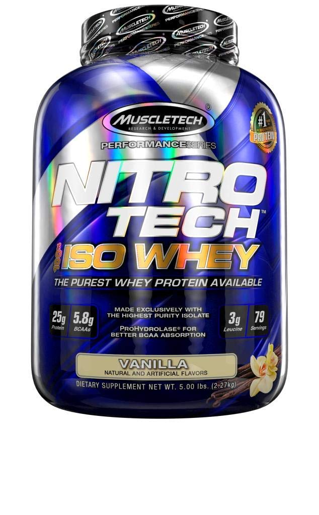 MuscleTech NitroTech Iso Whey Isolate Protein Powder, 25g of Whey Protein Per Scoop - The Purest Whey Protein Formula Available - Vanilla, 53 Servings (4lbs)
