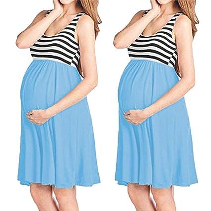 e689e2c3738d63 Amazon.com: ❤ Mealeaf ❤ Womens O-Neck Pregnant Sleeveless Nursing Stripe  Maternity Vest Tank Dress(Sky Blue,L): Home & Kitchen