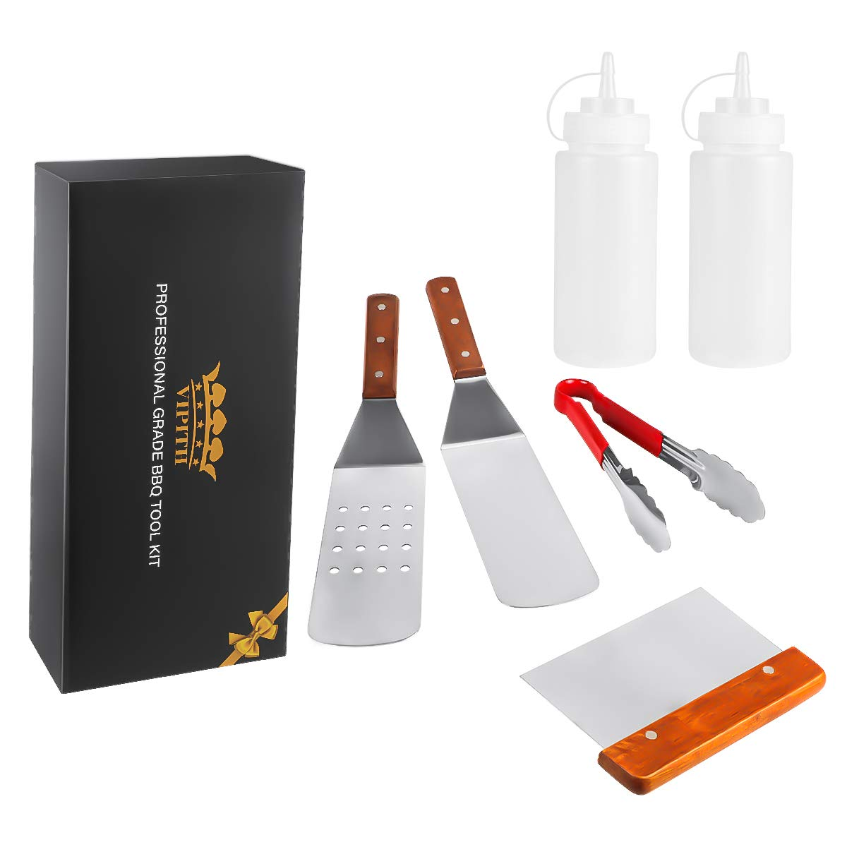 COM4SPORT 6 Piece Professional Grade Stainless Steel BBQ Grill and Griddle Spatulas Tool Kit Great for Grill Griddle Flat 2 Spatulas, 1 Chopper Scrapper, 1 Kitchen Tongs, 2 Condiment Bottles
