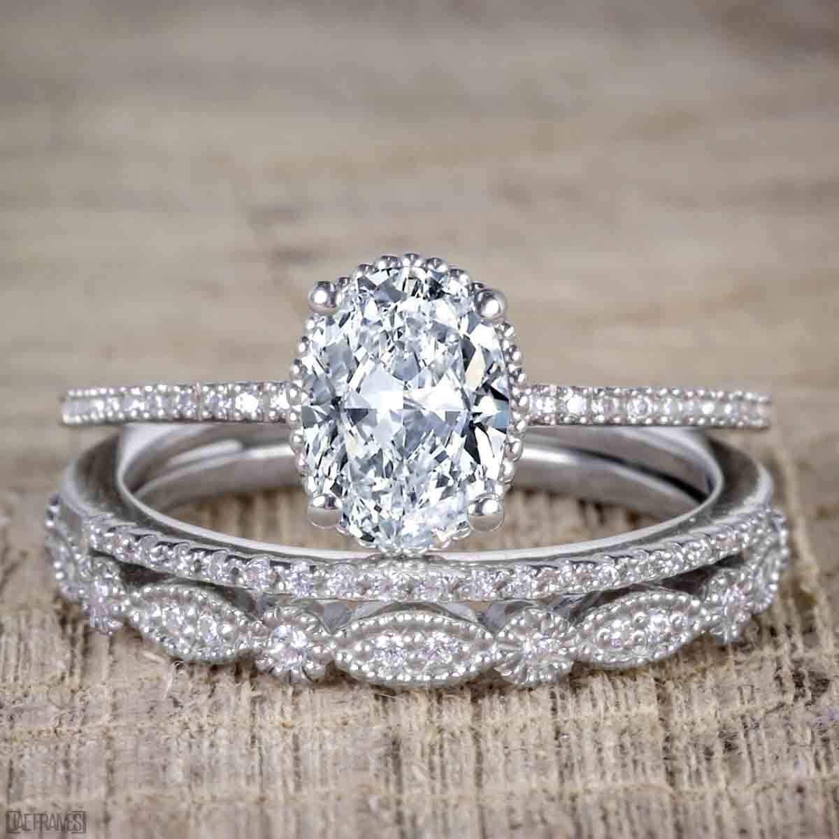 White Moissanite 1.50 Ct Oval Cut East To West Setting Solitaire Style Ring Classic Style Ring Solid 14k18k White Gold Engagement Ring