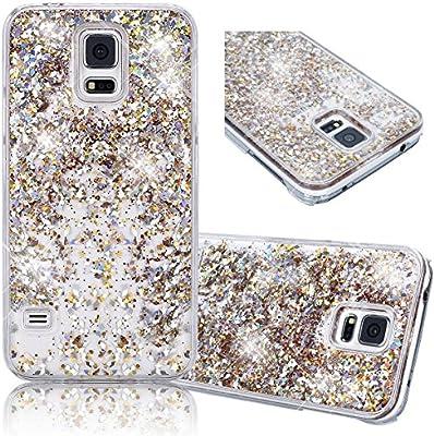Amazon.com: Samsung Galaxy S5 Relief Carcasa de PC, dorado bling