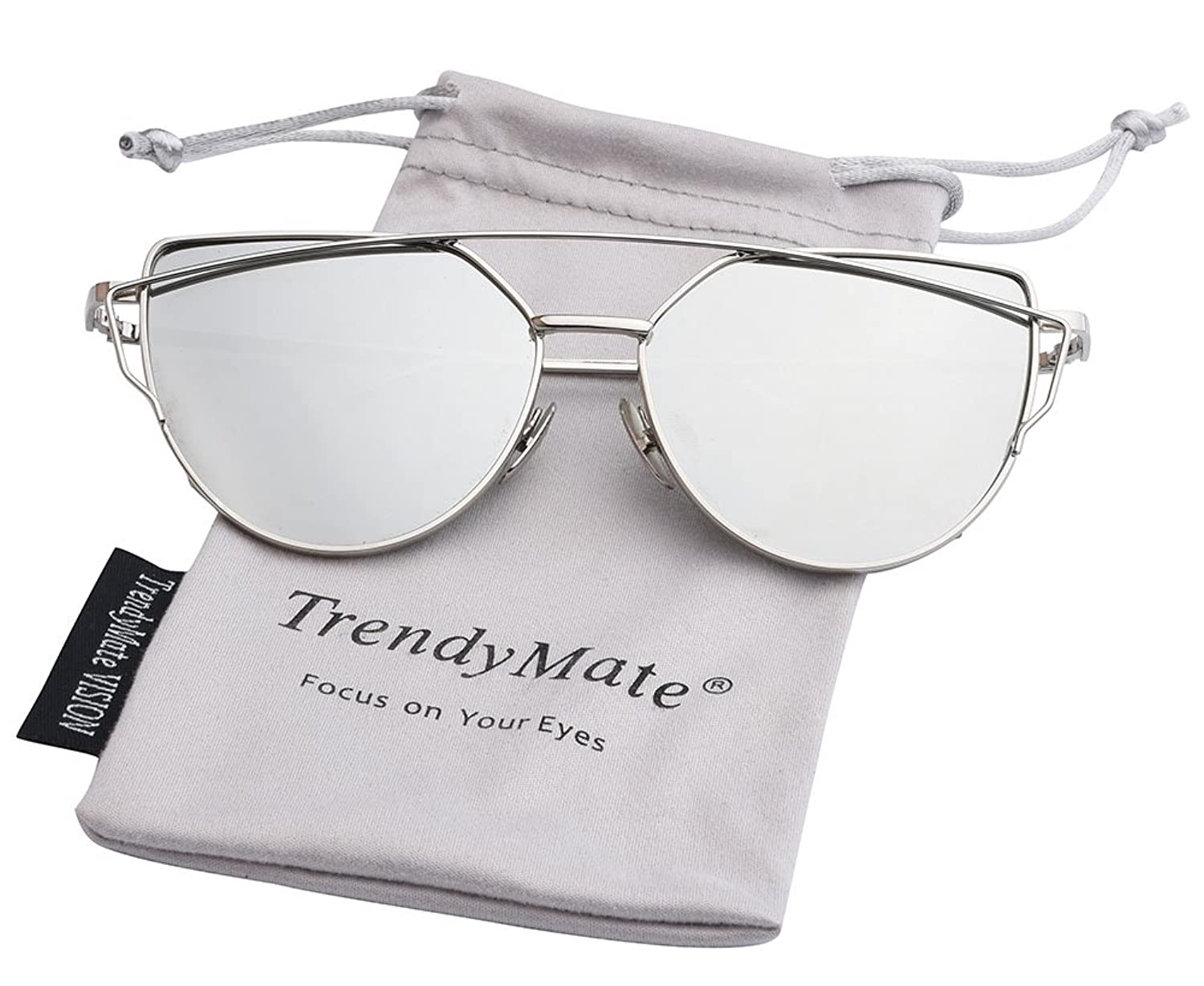 Trendy Mate Womens Street Fashion Metal Twin Beam Flat Mirror Lens Cat Eye Sunglasses by Trendy Mate