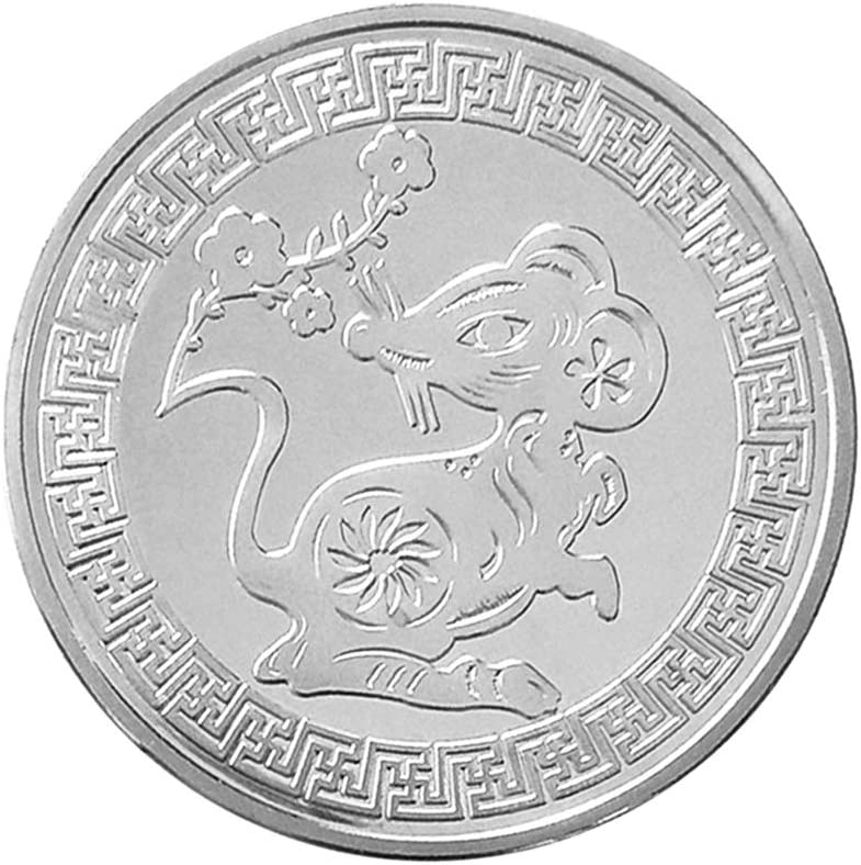 Sharplace Moneda Conmemorativa de Zodiaco Chino Símbolo de Suerte Regalo de Año Nuevo para Amigos 40mm - Plata: Amazon.es: Juguetes y juegos
