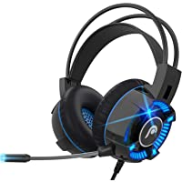 Fosmon Gaming Headset with Mic Microphone, (50mm Surround Sound Driver) Strong Bass Over Ear Headphone with Comfy…