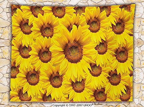 Sunflower Decor Fleece Throw Blanket Sunflower Bloom Bouquet