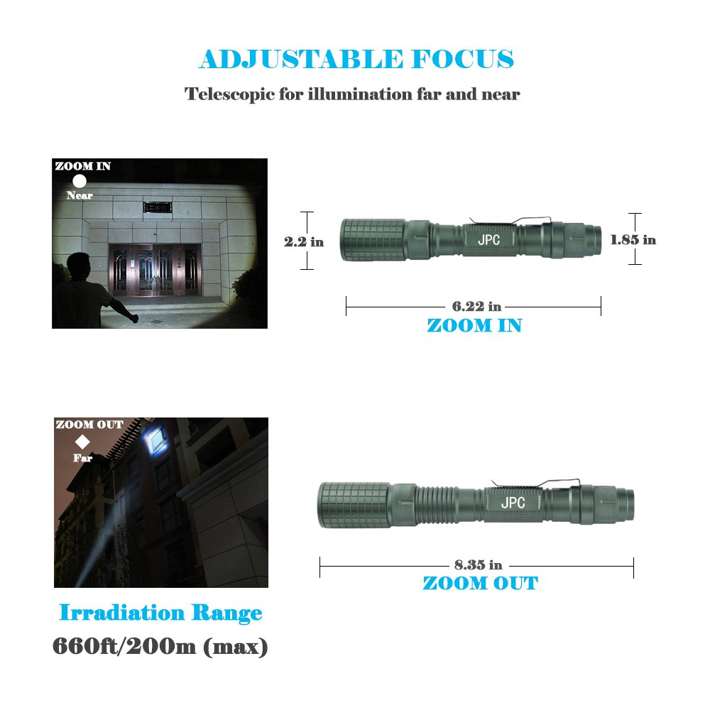 JPC 1000 Lumen Flashlight, CREE XM-L2 T6 LED, Zoomable, IP65 Waterproof, 5 Light Modes with Strobe, Military Tactical Grade by JPC (Image #4)