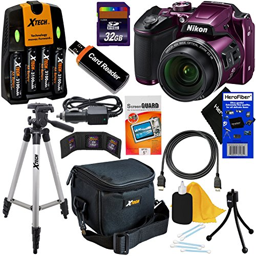 (Nikon COOLPIX B500 Wi-Fi, NFC Digital Camera w/40x Zoom & HD Video (Plum) - International Version (No Warranty) + 4 AA Batteries with Charger + 10pc 32GB Dlx Accessory Kit w/ HeroFiber Cleaning Cloth)