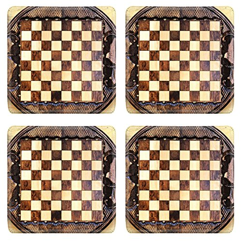 MSD Square Coasters Non-Slip Natural Rubber Desk Coasters design: 35308567 Checkerboard of the round shape made of wood and decorated with carvings