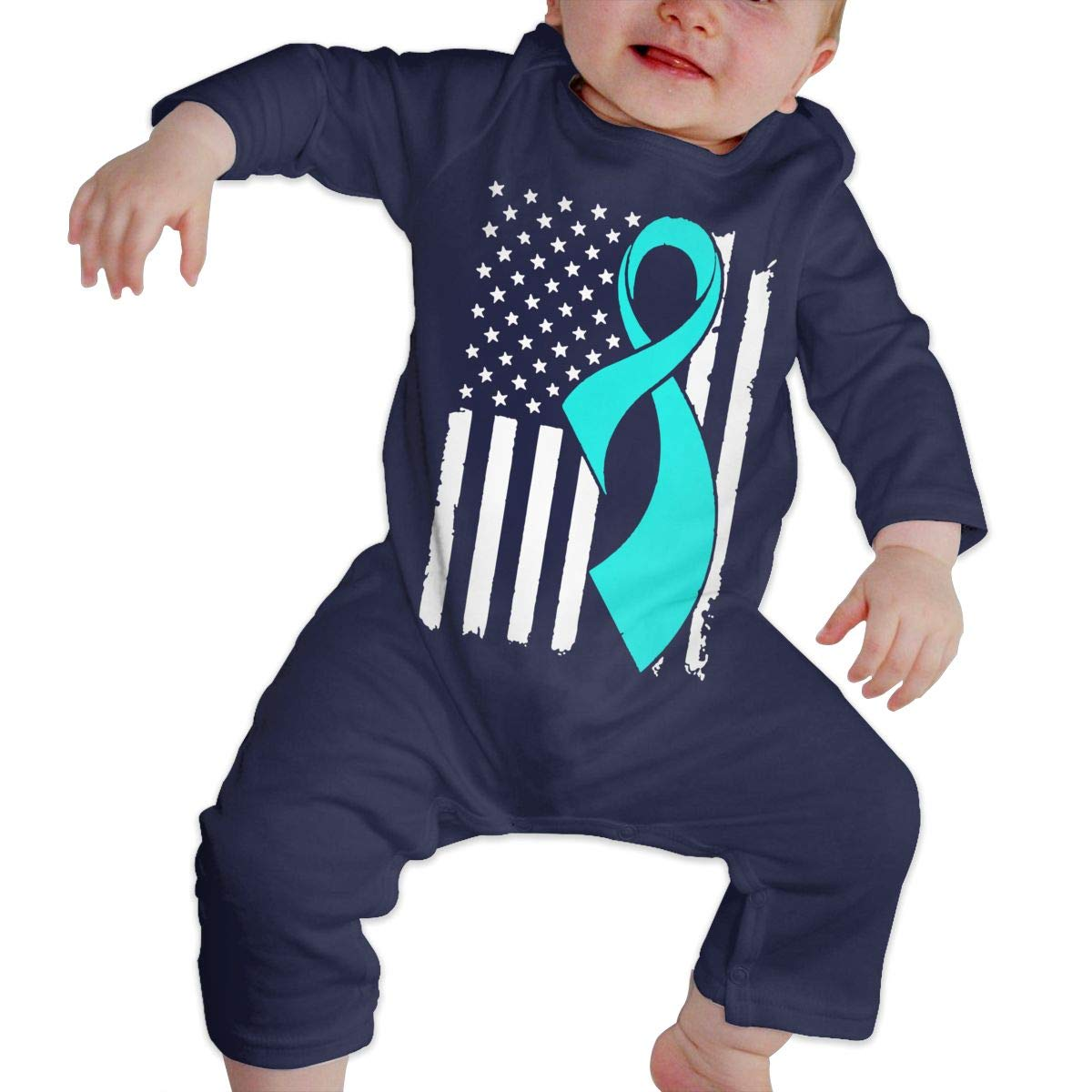 LBJQ8 Cervical Cancer Awareness Flag Unisex Baby Long Sleeve Bodysuit Jumpsuit Outfits