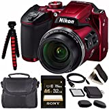 Nikon COOLPIX B500 Digital Camera (Red) 26508 + Sony 32GB UHS-I SDHC Memory Card (Class 10) + Flexible 12 Tripod + Small Soft Carrying Case + HDMI Cable + Card Reader + Memory Card Wallet Bundle