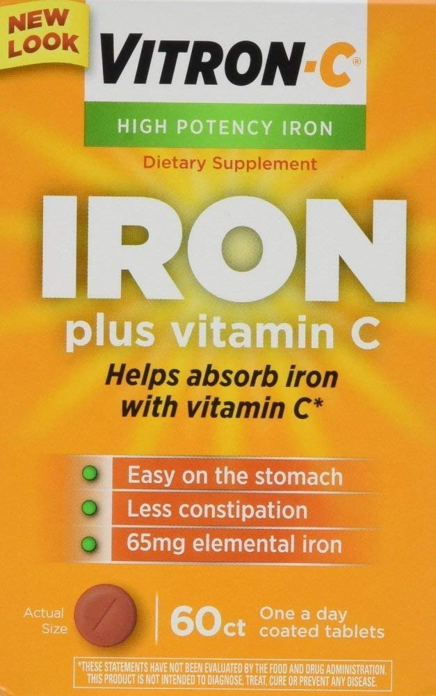 Vitron-C Iron Supplement Plus Vitamin C Coated Tablets 60 ct (4 Pack)