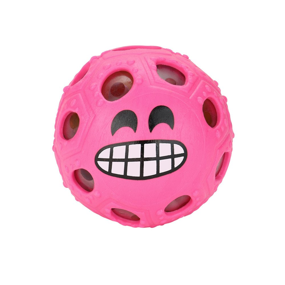 Kanzd Novelty Fun Emoji Grape Ball Mesh Squishies Pressure Ball Stress Reliever Toys (Pink)