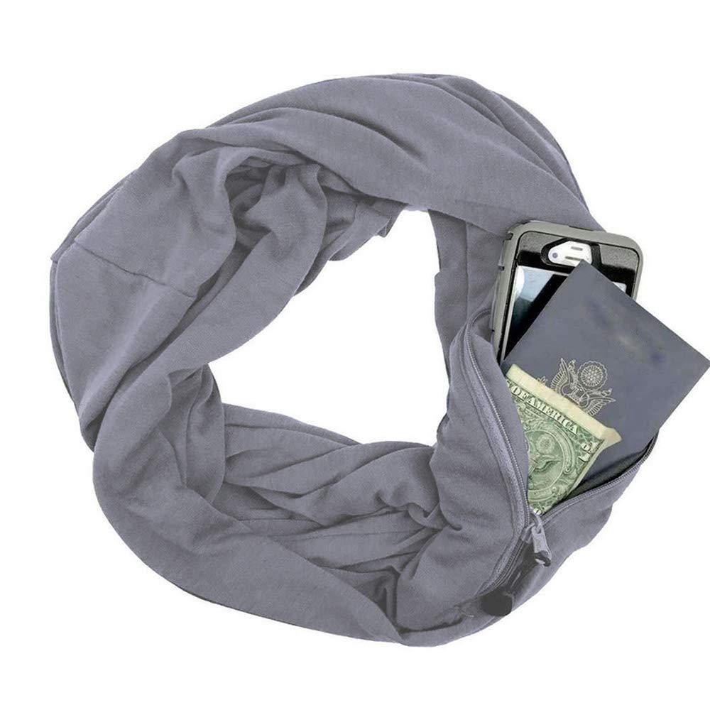 GKPLY Sciarpa di Coppia di Moda, Tasca con Zip - Calda Sciarpa Comoda con Cerniera in Morbido Jersey Elasticizzato,Black