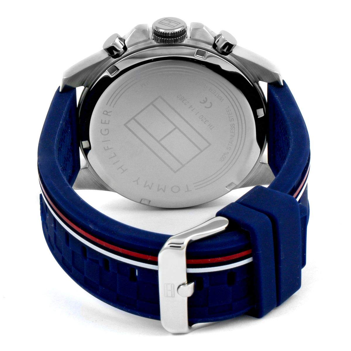 Amazon.com: Tommy Hilfiger Mens Decker Blue Dial Blue Rubber Strap 1791476: Watches