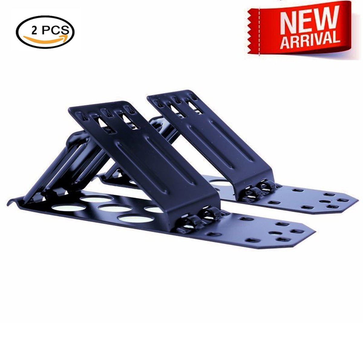 SAUNICE Metal Folding Triangle Wheel Chock Stop Stoper Tire Nonslip Supporter 2 Set,7.5'' Length, 2.75'' Width, 3.5'' Height