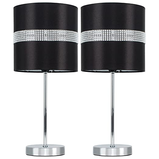 Pair of modern silver chrome dimmable touch table lamps with pair of modern silver chrome dimmable touch table lamps with decorative black and silver diamante mozeypictures Choice Image
