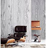Blooming Wall: Faux Natural Wood Plank Wood Grain Wood Panel Wall Vinyl Wall Mural Wallpaper Roll for Livingroom Bedroom, 20.8 In32.8 Ft=58 Sq.ft,gray&beige