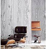 Blooming Wall: Faux Natural Wood Plank Wood Grain Wood Panel Wall Vinyl Wall Mural Wallpaper Roll for Livingroom Bedroom, 20.8 In32.8 Ft=58 Sq.ft,gray&beige