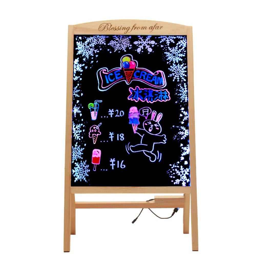 Mesurn JP 充電式蛍光ボード、無垢材ブラケット60×80、電子蛍光黒板ビルボード、蓄光ライティングボード 60*80  B07N2HV1QP