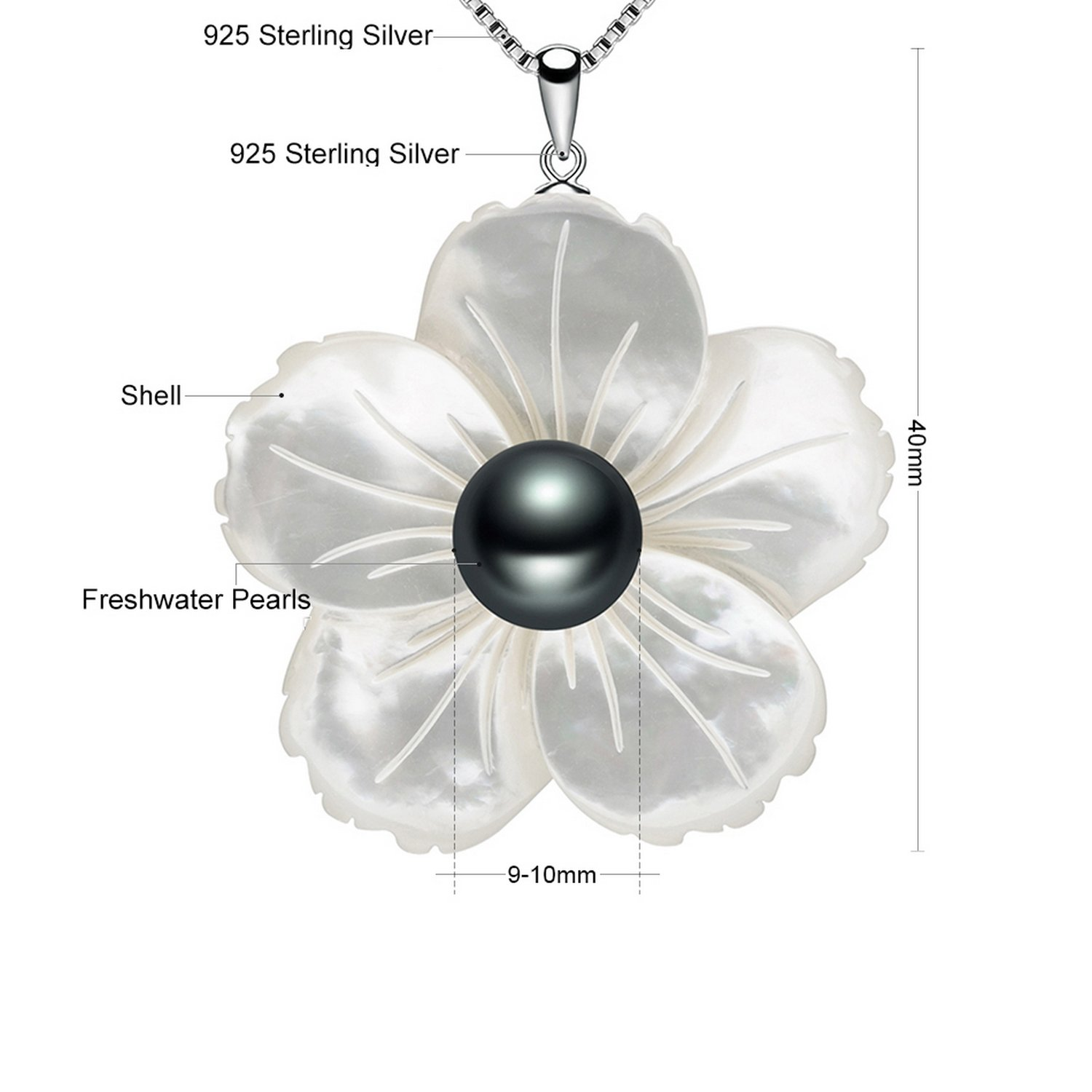 CS-DB Pendants Pearls Jewelry Long Black Silver Necklaces