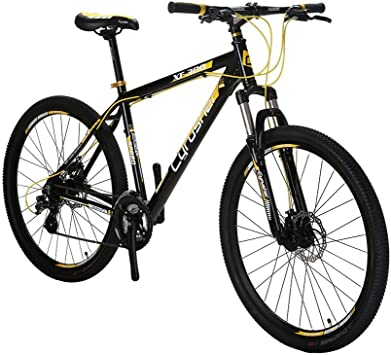 cyrusher XF300 bicicleta mountain bike para hombre 24 Speeds Tenedor Suspensión mecánica doble frenos de disco, negro/amarillo: Amazon.es: Deportes y aire libre