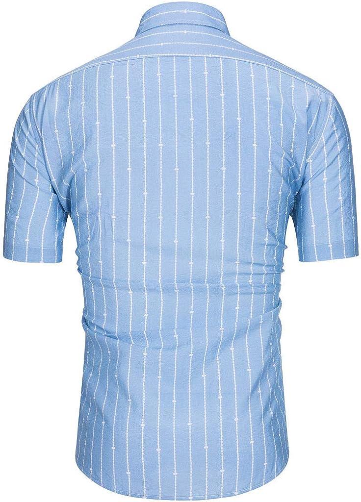 WSPLYSPJY Mens Autumn Long Sleeve Stripe Office Slim Fit Button Down Shirt