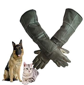 Funhoo Animal Handling Anti-bite//Scratch Gloves,Thickened Cowhide,Safe and Durable Protection Gloves for Dog Cat Bird Snake Parrot Lizard Wild M