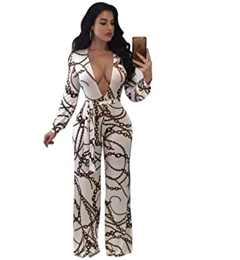 c97596a33c0 Amazon.com  One Piece V Neck Rompers and Jumpsuits for Women Long Sleeve  Sexy Casual Wide Leg Long Pants Plus Size White XL  Clothing