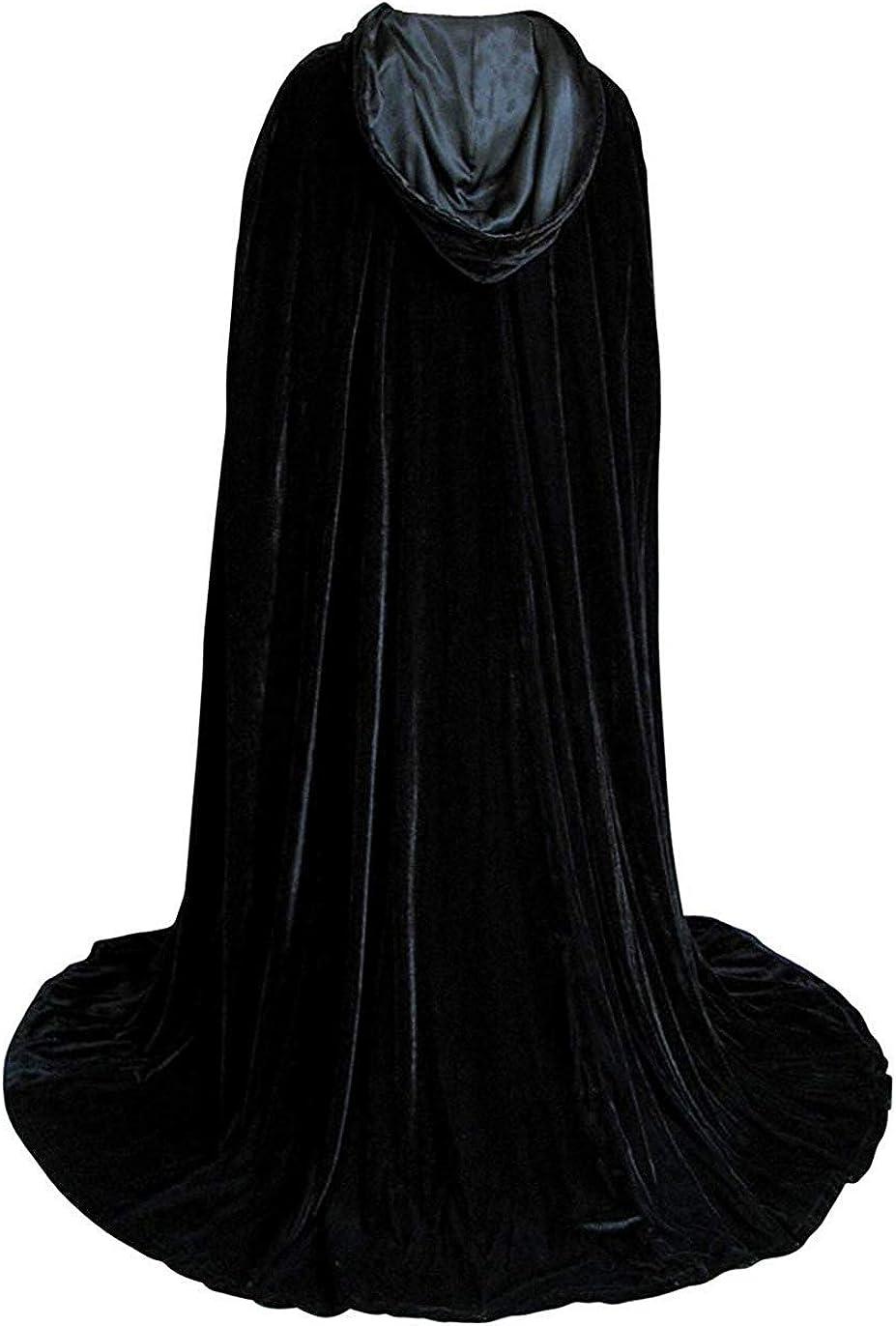 Engerla Bridal Halloween Costumes Hooded Cloak Velvet Cloak Black Cape Unisex Cosplay Capes