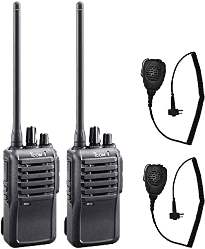 2 Pack of Icom F4001 UHF Analog Two Way Radios with Speaker Mics – May Require Programming