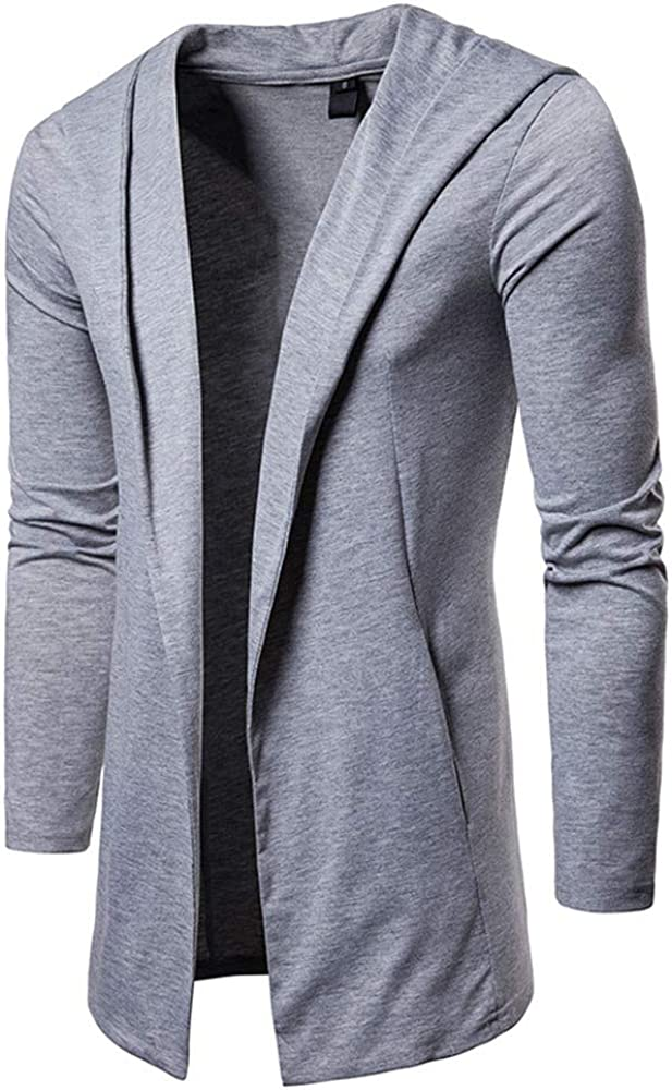 iYBUIA Pure Fashion Mens Hooded Solid Trench Coat Jacket Cardigan Long Sleeve Outwear Blouse