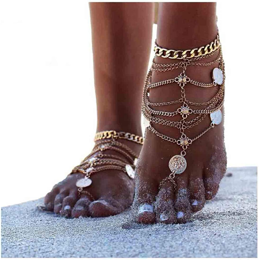 Olbye Silver Barefoot Sandals Foot Chain Jewelry Coin Anklet Bracelet for Women and Girls Beach Wedding Foot Jewelry Pack of 2