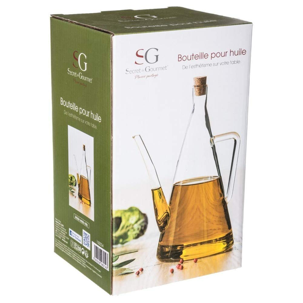 Secret de Gourmet aceite Jarra Botella Vinagrera 500 ml, cristal, transparente H: 22 cm: Amazon.es: Hogar