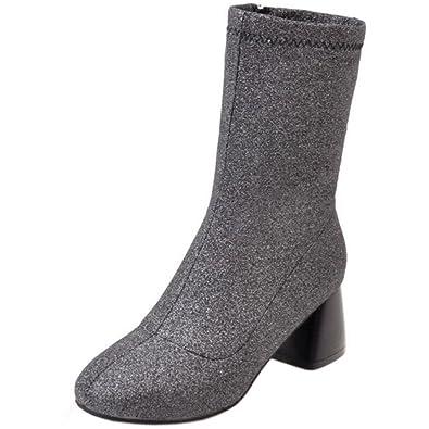 Zanpa Damen Mode Ankle Stretch Stiefel Mid Heel mit Pailletten Red Size 39 Asian rpifl