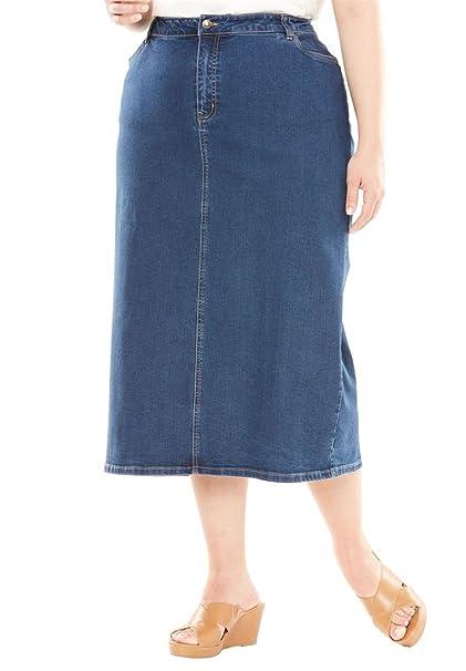 e36d57c4cedc Jessica London Women s Plus Size True Fit Denim Maxi Skirt - Medium  Stonewash