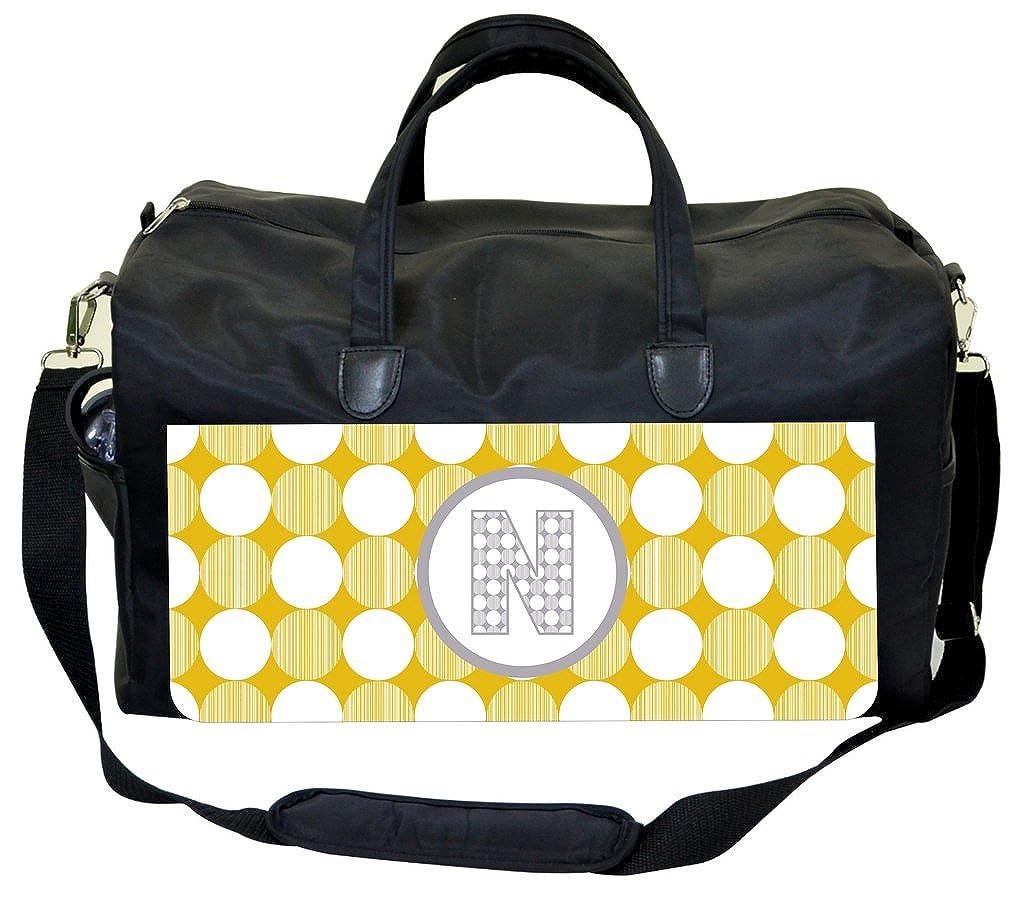 Yellow-Grey StripeDots Personalization Custom Weekender//Overnighter Bag