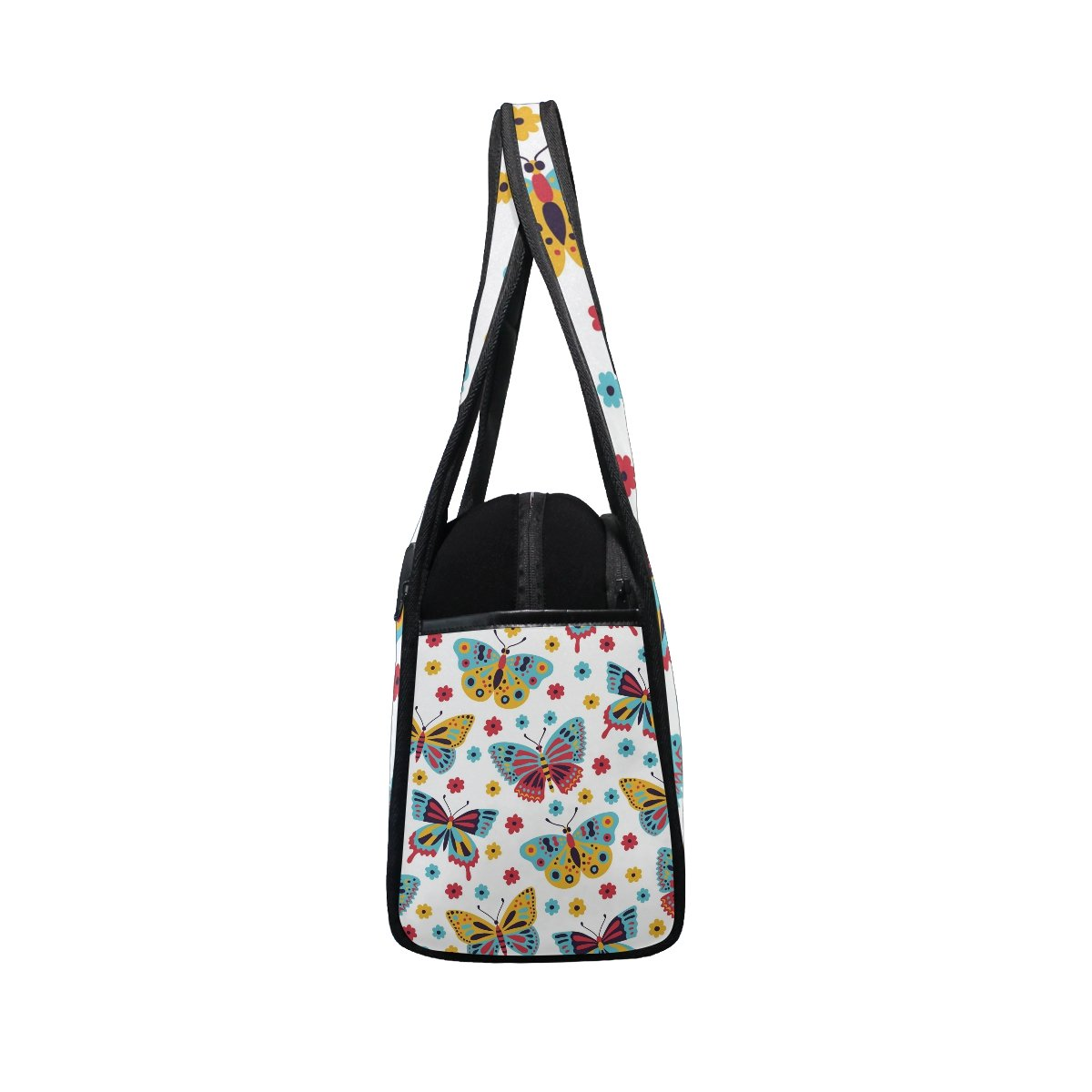 AHOMY Canvas Sports Gym Bag Butterfly Flower Travel Shoulder Bag