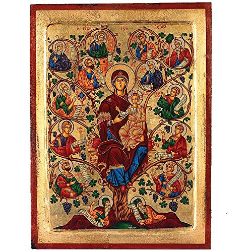 The Tree of Life- Mary (Vines Old Testament) Greek Painted Icon by Catholic Gifts USA