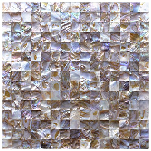 Art3d Groutless Mother of Pearl Backsplash Wall Tiles 12'' X 12'' Natural Polychrome, 0.8''x0.8'' Chip (6 Tiles) by Art3d