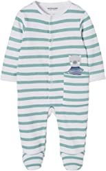 4c8a7236f55b5 VERTBAUDET Pyjama bébé molleton pressionné devant rayé vert 1M - 54CM
