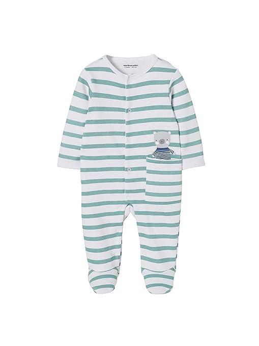 b7e83b01330ac VERTBAUDET Pyjama bébé molleton pressionné devant rayé vert 1M - 54CM
