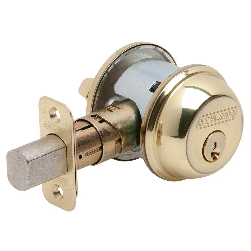Schlage B60N505 Deadbolt Keyed 1 Side Bright Brass - Door Dead Bolts - Amazon.com