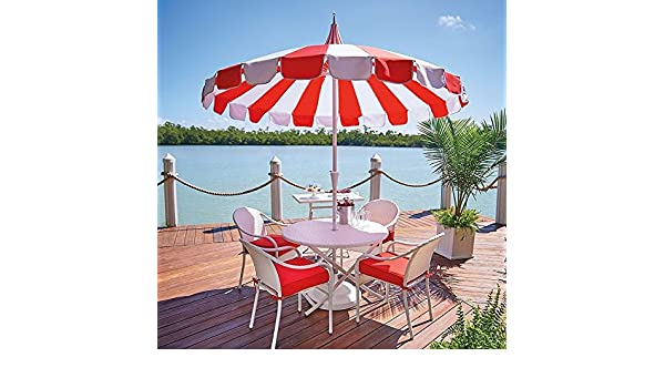 Amazon.com : Red White Cabana Stripe Pagoda Style 8 Foot Patio Umbrella :  Garden U0026 Outdoor