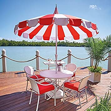 Red White Cabana Stripe Pagoda Style 8 Foot Patio Umbrella