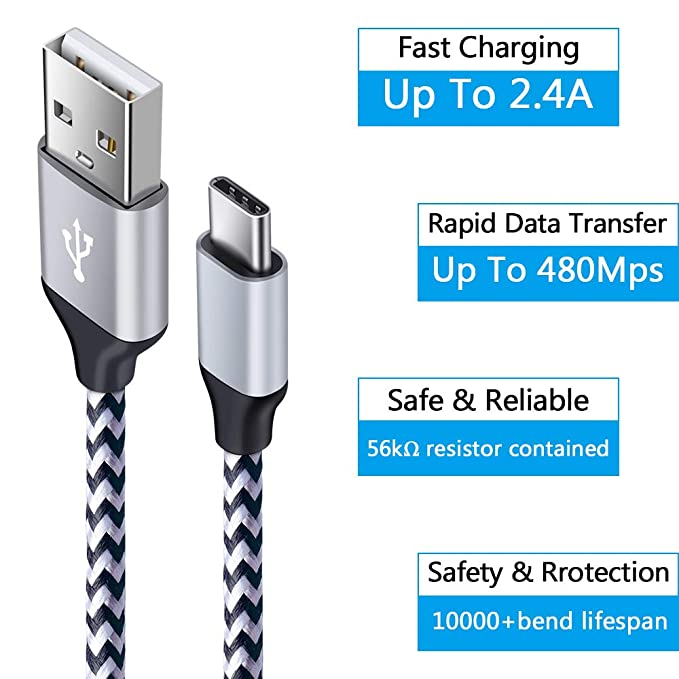 C Car Charger, C Charging Block Type USB C Cable Heavy Duty Fast Charging Cords Compatible Samsung Galaxy S10 S10E S9 S8 Plus A20 A50 Note 10/9 LG ...