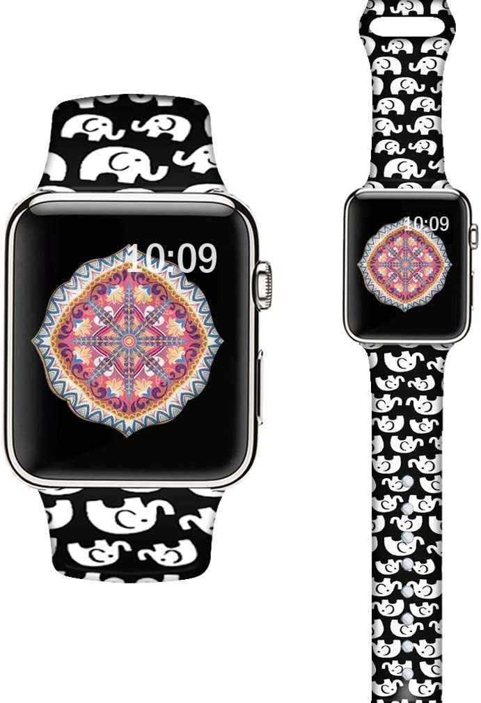 LAACO Silicone Sport Bands Compatible with Apple Watch 40mm for Women, Floral Sport Band, White Elephant Fadeless Pattern Printed Replacement Strap Bands Compatible with iWatch 38mm Series 5 4 3 2 1