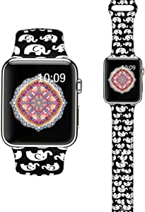 LAACO Silicone Sport Bands Compatible with Apple Watch 44mm for Women, Floral Sport Band, White Elephant Fadeless Pattern Printed Replacement Strap Bands Compatible with iWatch 42mm Series 5 4 3 2 1
