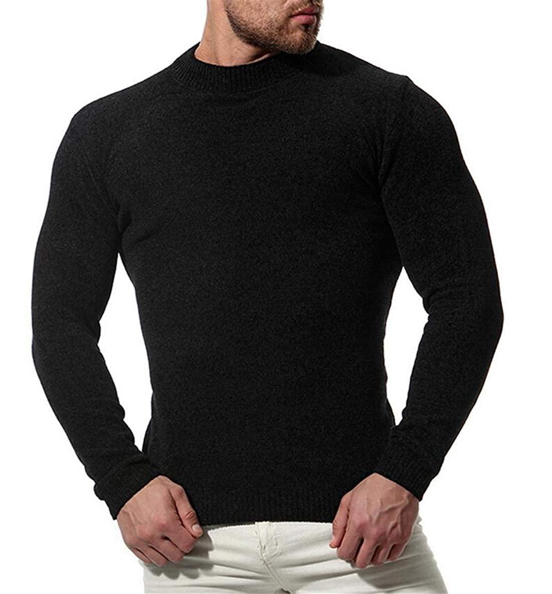 Nanquan Men Stretch Solid Pullover O-Neck Long Sleeve Knitted Sweaters