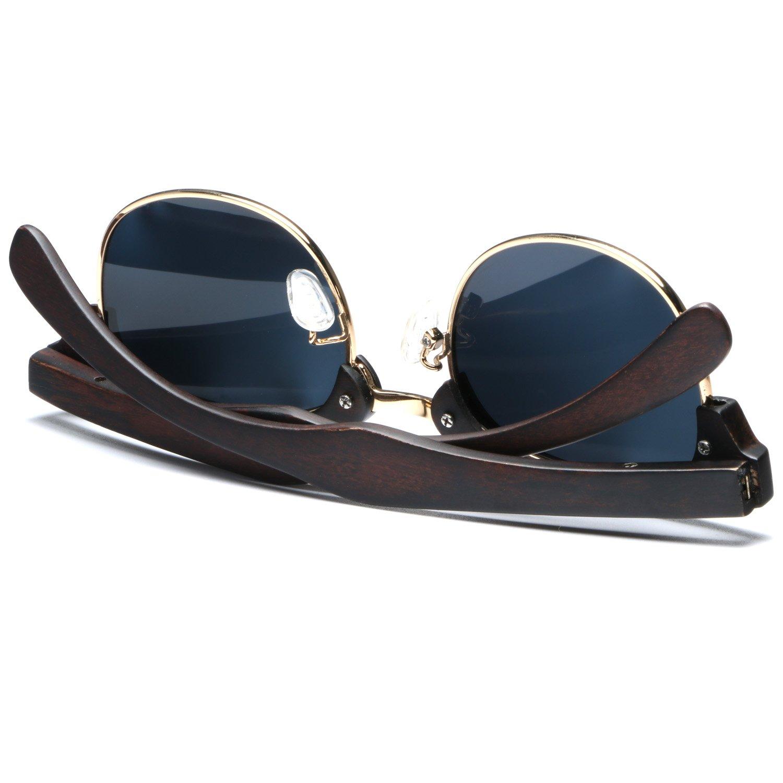 Ablibi Real Ebony Wood Polarized Sunglasses for Mens Semi Rimless Classic Shades(Ebony Wood, Grey)